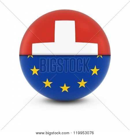 Swiss And European Flag Ball - Split Flags Of Switzerland And The Eu