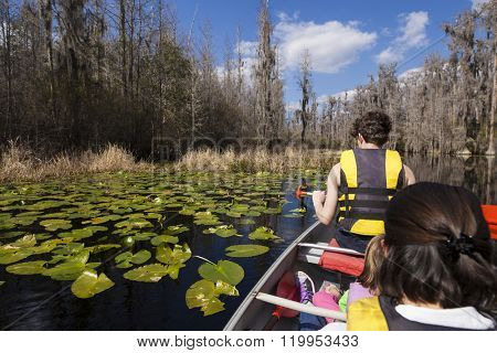 Family canoing though the Okefenokee swamp in Georgia, USA