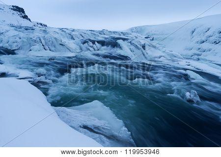 Winter View Of The Gullfoss Falls, Iceland