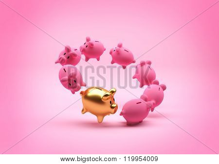 Savings Concept - Piggy Bank. A floating circle of piggy banks - with a standout gold one. Illustration.