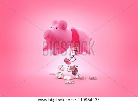 A broken Piggy Bank. Open piggy bank dropping coins onto the floor. Illustration.
