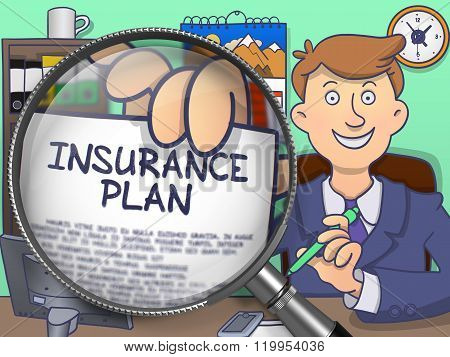 Insurance Plan through Lens. Doodle Design.