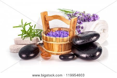 Spa still life with lavender salt and black stone isolated on white background