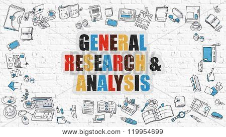 General Research and Analysis Concept with Doodle Design Icons.
