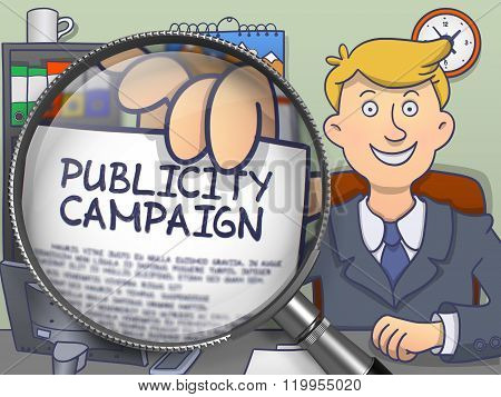 Publicity Campaign through Magnifying Glass. Doodle Design.