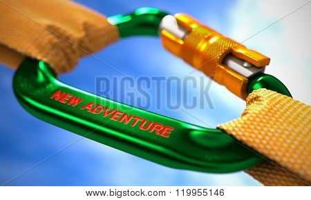 Green Carabiner with Text New Adventure.