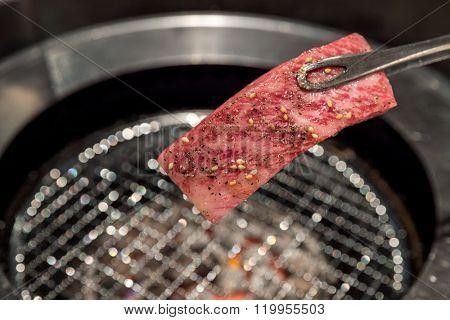 grilled Freshness Japanese wagyu Sirloin meat BBQ yakiniku