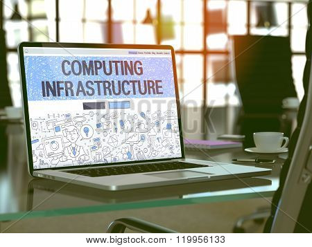 Laptop Screen with Computing Infrastructure Concept.