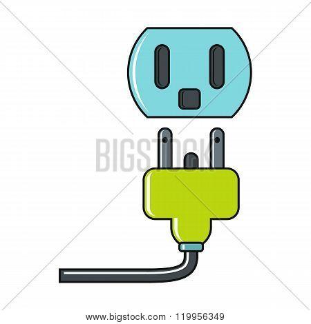 Cartoon Plug And Socket Icon On White Background