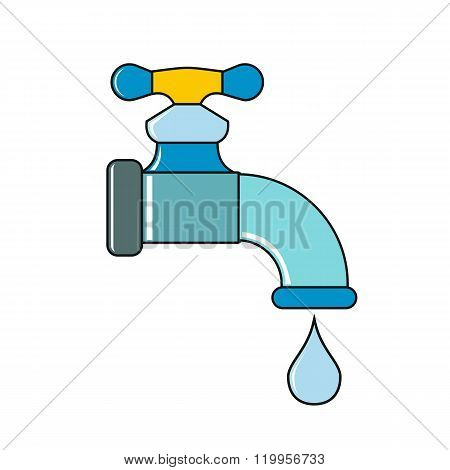 Water Tap With Drop On White Background