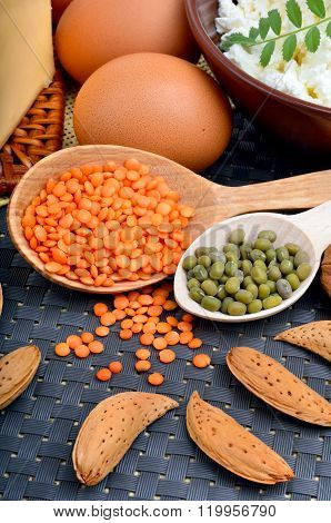 Food High In Protein On Table.