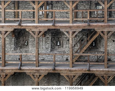 Wooden arcades inside medieval castle Ogrodzieniec, located on the Trail of the Eagles' Nest within the Krakow-Czestochowa Upland, Poland
