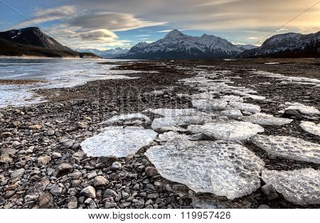 Abraham Lake Winter Ice formations bubbles design ** Note: Shallow depth of field