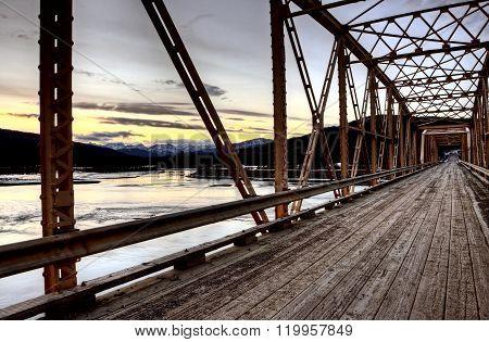 Bridge over Saskatchewan River Rocky Mountains Canada