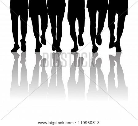 legs male silhouette running in group