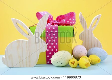 Easter Bunny With Gift Box.