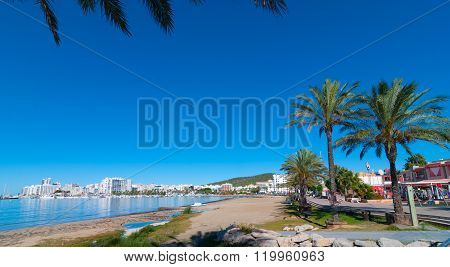 Morning beach in St Antoni de Portmany, Ibiza, Balearic Islands.