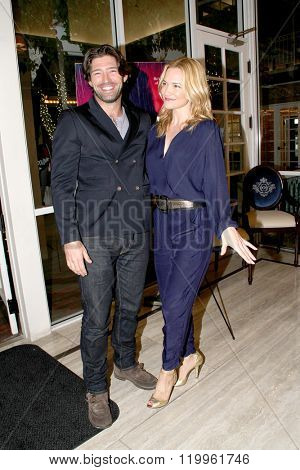 Actors Bo Roberts and Victoria Pratt at the book signing of Pratt's new book,