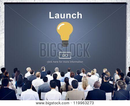 Launch Start Brand Introduce Light Bulb Concept