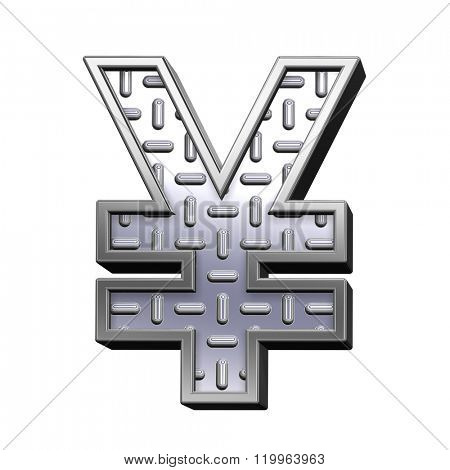 Yen sign from steel tread plate alphabet set, isolated on white. Computer generated 3D photo rendering.