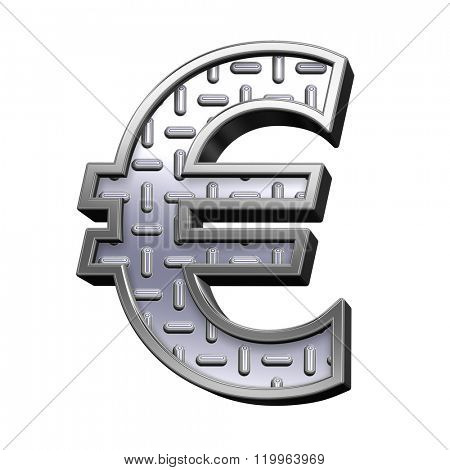 Euro sign from steel tread plate alphabet set, isolated on white. Computer generated 3D photo rendering.