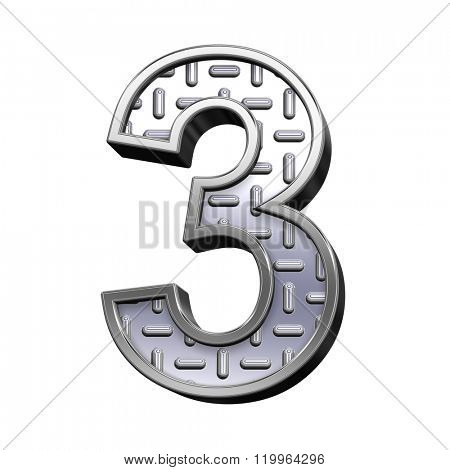One digit from steel tread plate alphabet set, isolated on white. Computer generated 3D photo rendering.