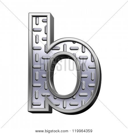 One lower case letter from steel tread plate alphabet set, isolated on white. Computer generated 3D photo rendering.