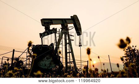 Pumpjack At An Oil Drilling Site