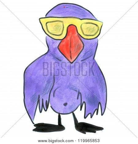 bluebird cartoon glasses yellow watercolor isolated