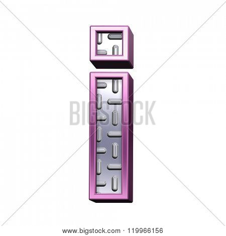 One lower case letter from steel tread plate with purple frame alphabet set, isolated on white. Computer generated 3D photo rendering.