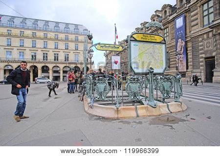 Paris, France - February 11, 2016: Metro station in the center of Paris, France