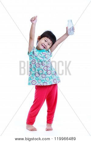 Full Bodu. Asian Pretty Girl Smiling And Showing Bottle Of Milk, On White.