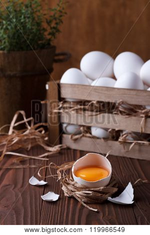 White Eggs On Brown Wooden Background