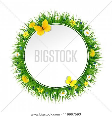 Summer Banner With Grass And Flowers With Gradient Mesh, Vector Illustration