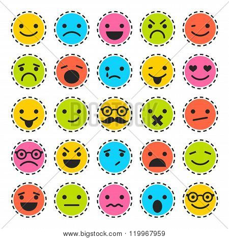 Emoticons. Set of characters in different emotions