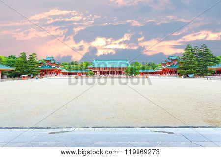 Heian-jingu Shrine Sunset Courtyard Taikyokuden