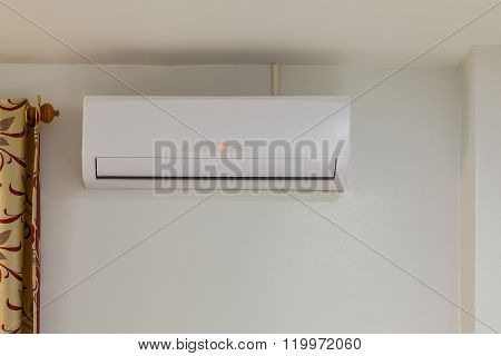 Air Conditioner Install On Wall For Condo Or Meeting Room, Power Off