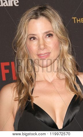 Mira Sorvino arrives at the Weinstein Company and Netflix 2016 Golden Globes After Party on Sunday, January 10, 2016 at the Beverly Hilton Hotel in Beverly Hills, CA.