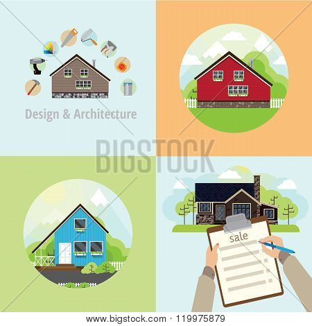 Four Square Banner With Houses
