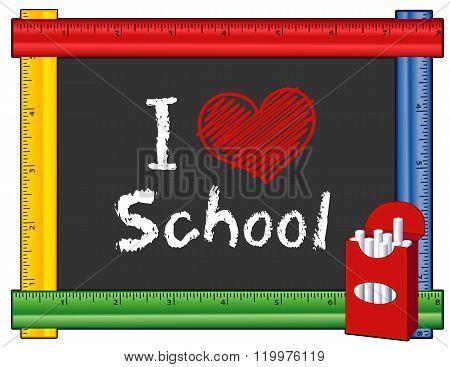 I Love School, Ruler Frame, Big Red Heart