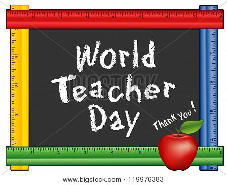 World Teacher Day, Ruler Frame, Apple