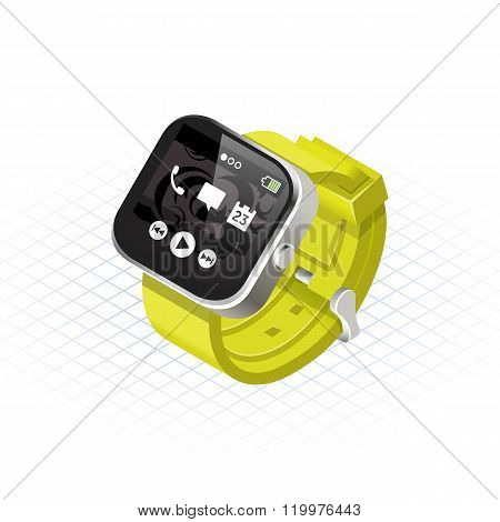 Isometric Modern Smart Watch with Yellow Wrist Band