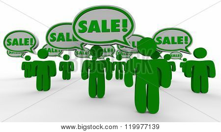 Sale Deal New Customers Speech Bubbles Green 3d People