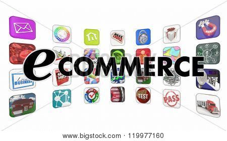 e-Commerce Shopping Buying Apps Words Programs Mobile Software