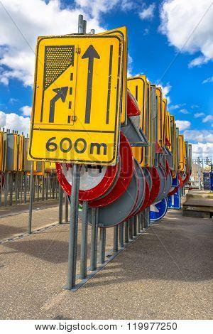 Yellow Road Narrowing Sign