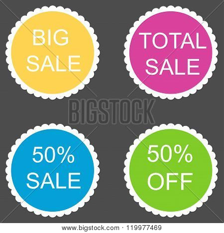 sale stickers set 50 percent. Vector image.