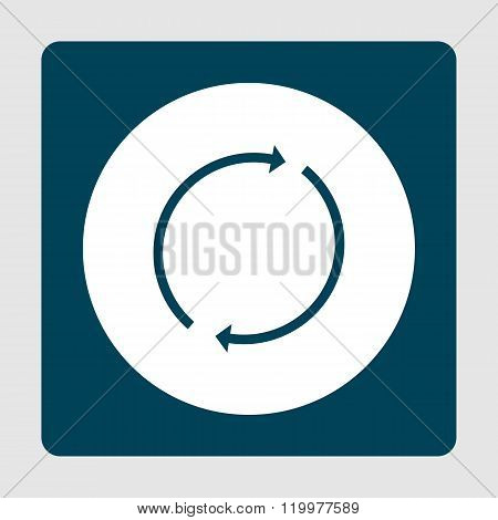 Refresh Icon, On White Circle Background Surrounded By Blue