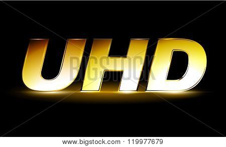 Golden UHD icon, ultra high definition logo