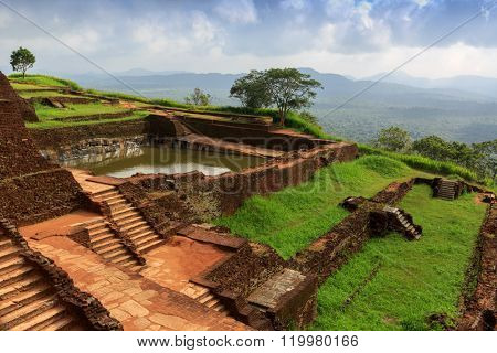 Ruins on top of Sigiriya Lion's rock palace in Sri Lanka