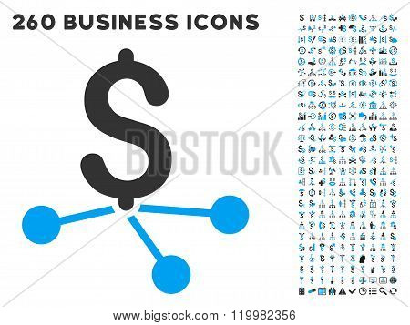 Bank Branches Icon with Flat Vector Set